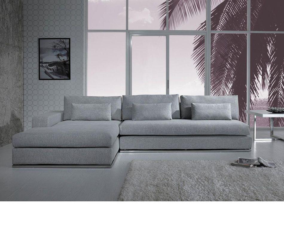 Divani Casa C08 Modern Fabric Sectional Sofa Grey Sectional