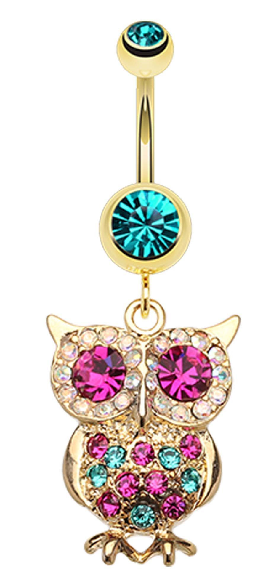 Long belly piercing  Golden Colored Owl Sparkle Belly Button Ring  belly  Pinterest
