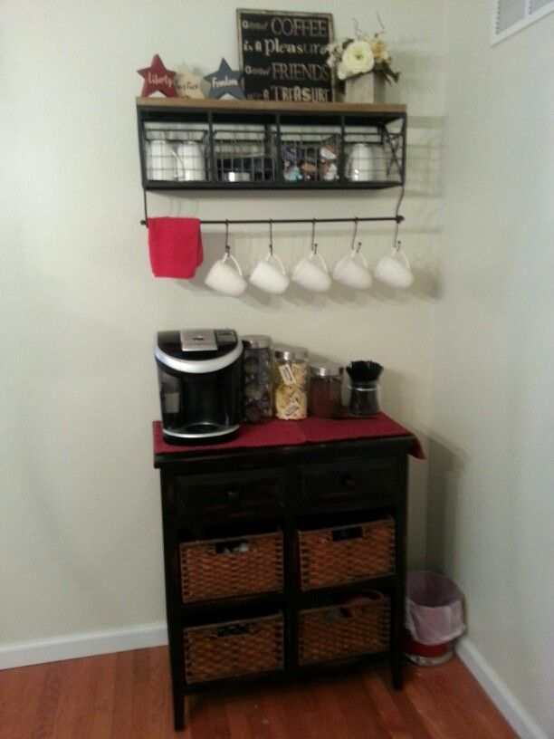 Coffee Bar Shelf With Baskets And Wooden Bar With Baskets From Hobby Lobby Small Kitchen Organization Coffee Bar Coffee Bar Station