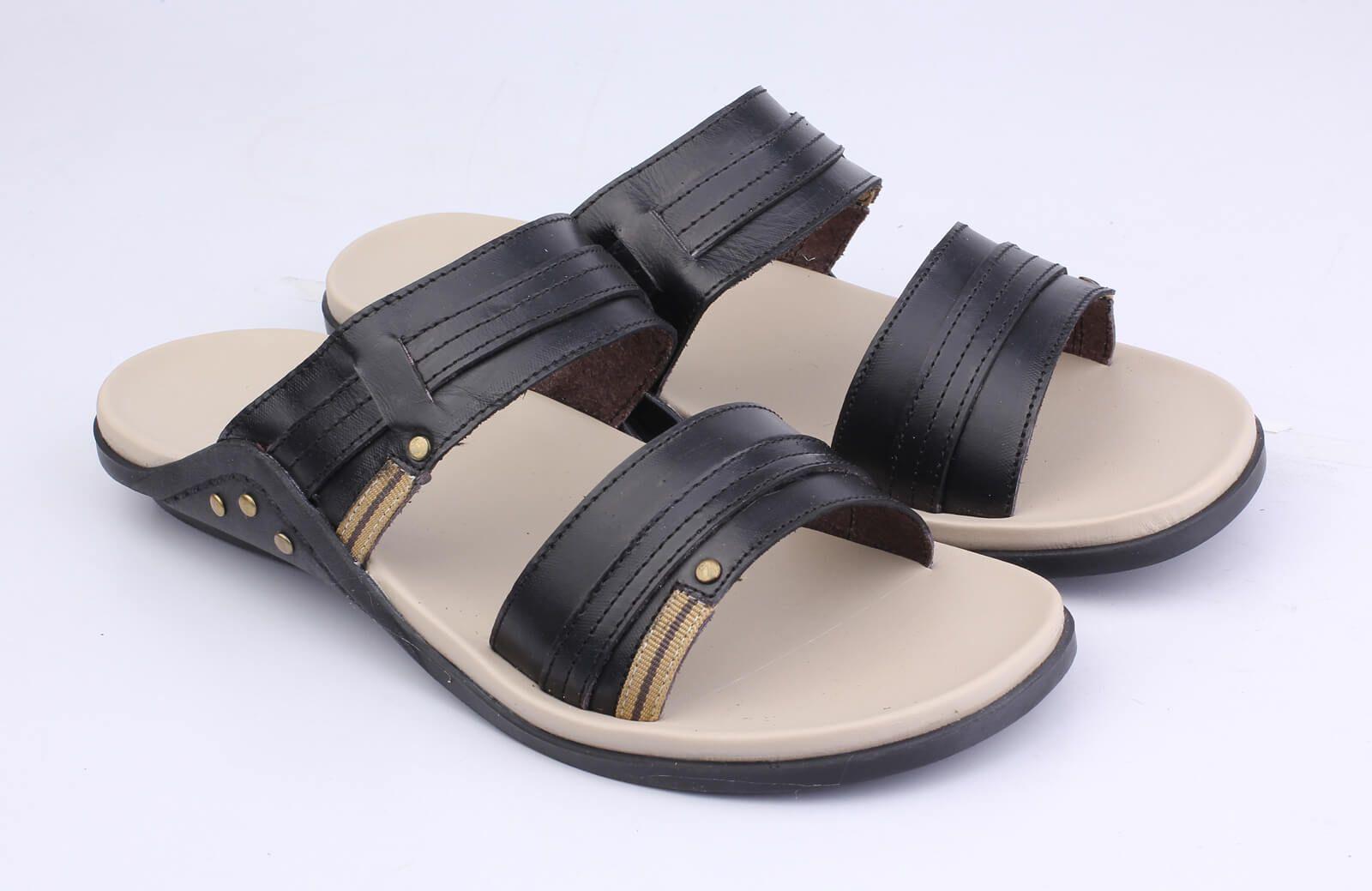 Sandal Casual Pria Kn 065 Kulit Hitam Di 2020 Kulit Hitam