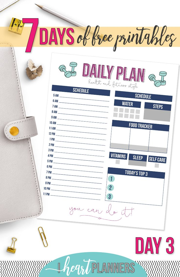 fitness daily planning printable planners printables pinterest
