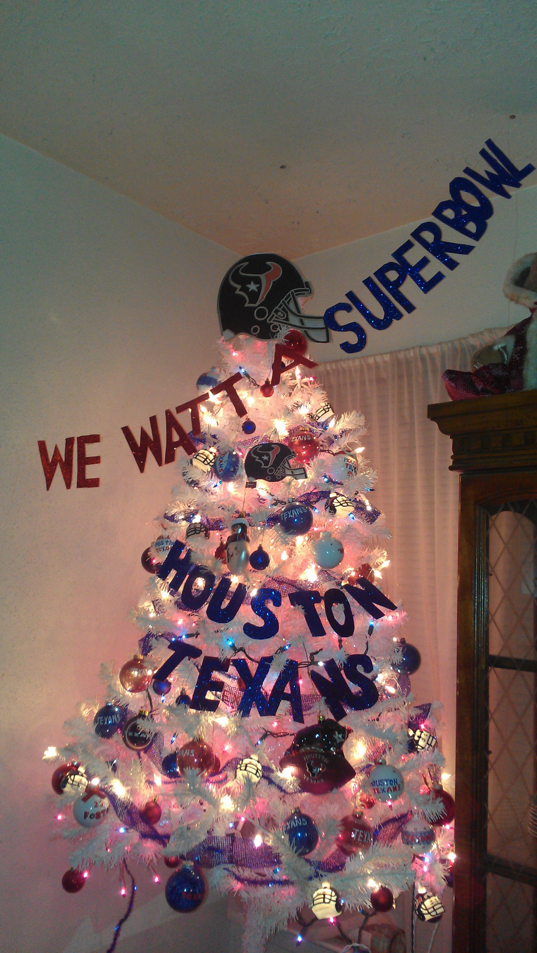 Houston Texans Christmas tree. Pretty sure my hubby would let me have two trees if one was a Texan tree!!