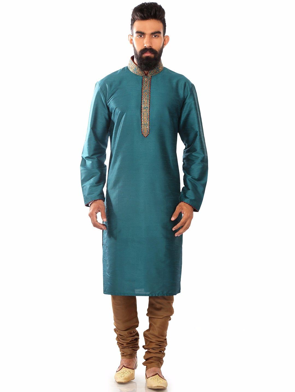 Dupion Silk Blue Wedding Wear Plain Kurta Suit | Buy Men\'s Kurta ...