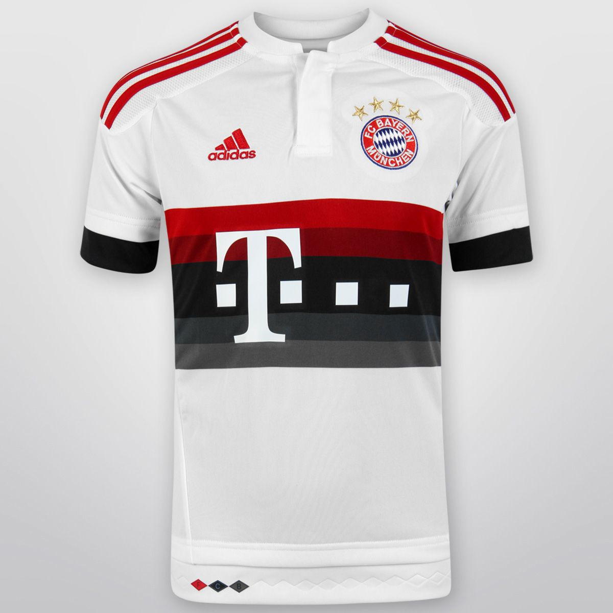 Con el Jersey Infantil Adidas Bayern Munich Visita 15/16 S/N°, tus pequeños podrán lucir con orgullo su afición por el poderoso equipo bávaro. Está confeccionado con tejido ClimaCOOL, sistema que lo mantendrá fresco y seco todo el tiempo.