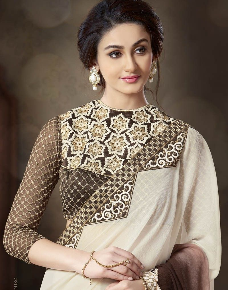 Shaded Brown with Off-white Color Heavy Embroidered Designer Saree ... ccb03cb5d2