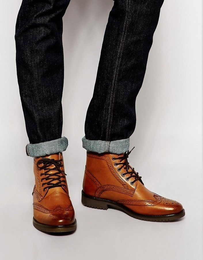 ASOS Brogue Boots in Tan Leather