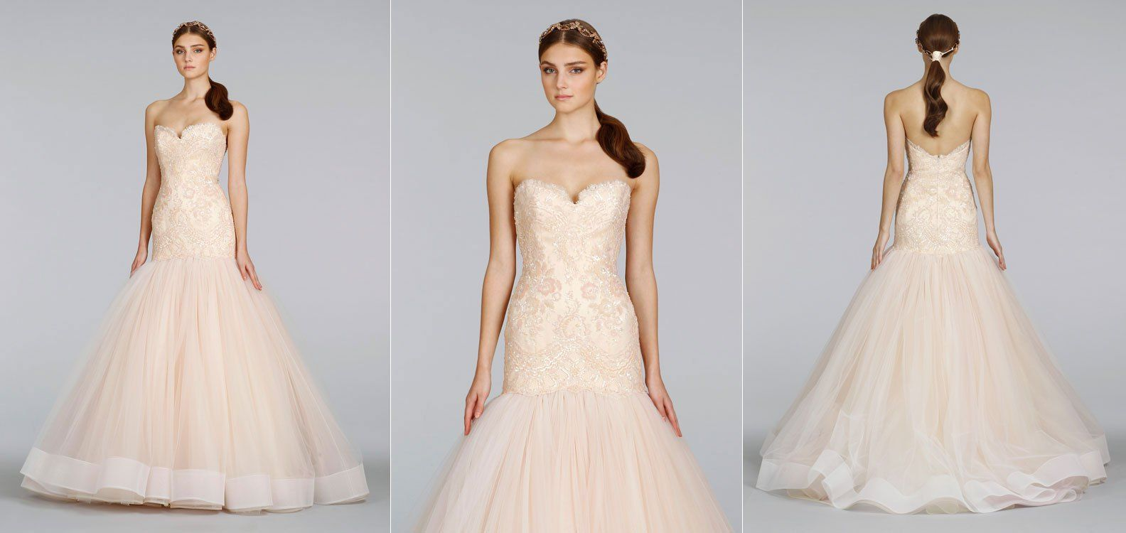 Shruthi In A Dreamy One Shoulder Pronovias Dress: Lazaro Blush Beaded Chantilly Lace Fit And Flare