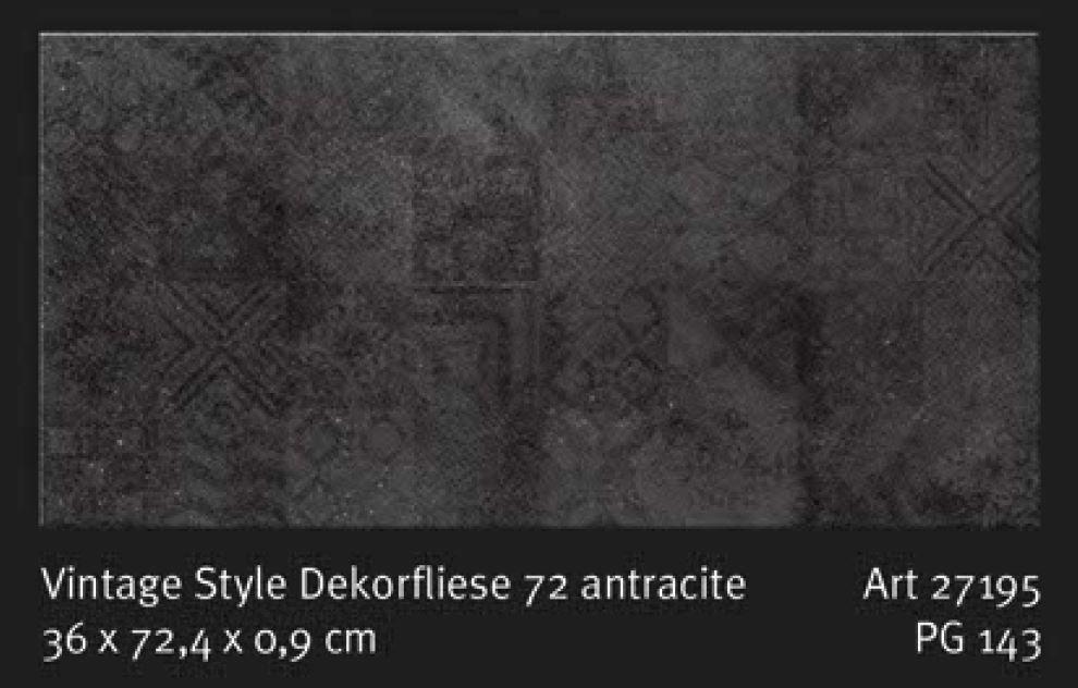 Bodenfliese Dekorfliese SKP Vintage 72 anthrazit 27195 36/72 Neuheit | eBay