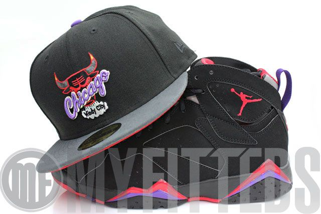 ee24cf3fa728d3 Chicago Bulls Black Carbon New Era Hat   Red Air Jordan Raptor 7 ...