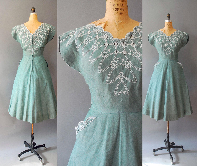 1950s Cotton Dress / Fresh Meadows Dress / 50s   1950s, Cotton and ...