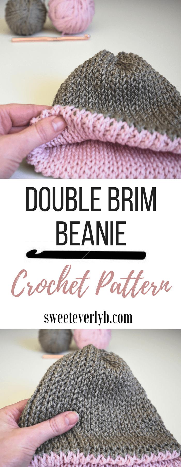 A Free Knit-Look Double Brim Crochet Beanie Pattern  d39e8dfefda