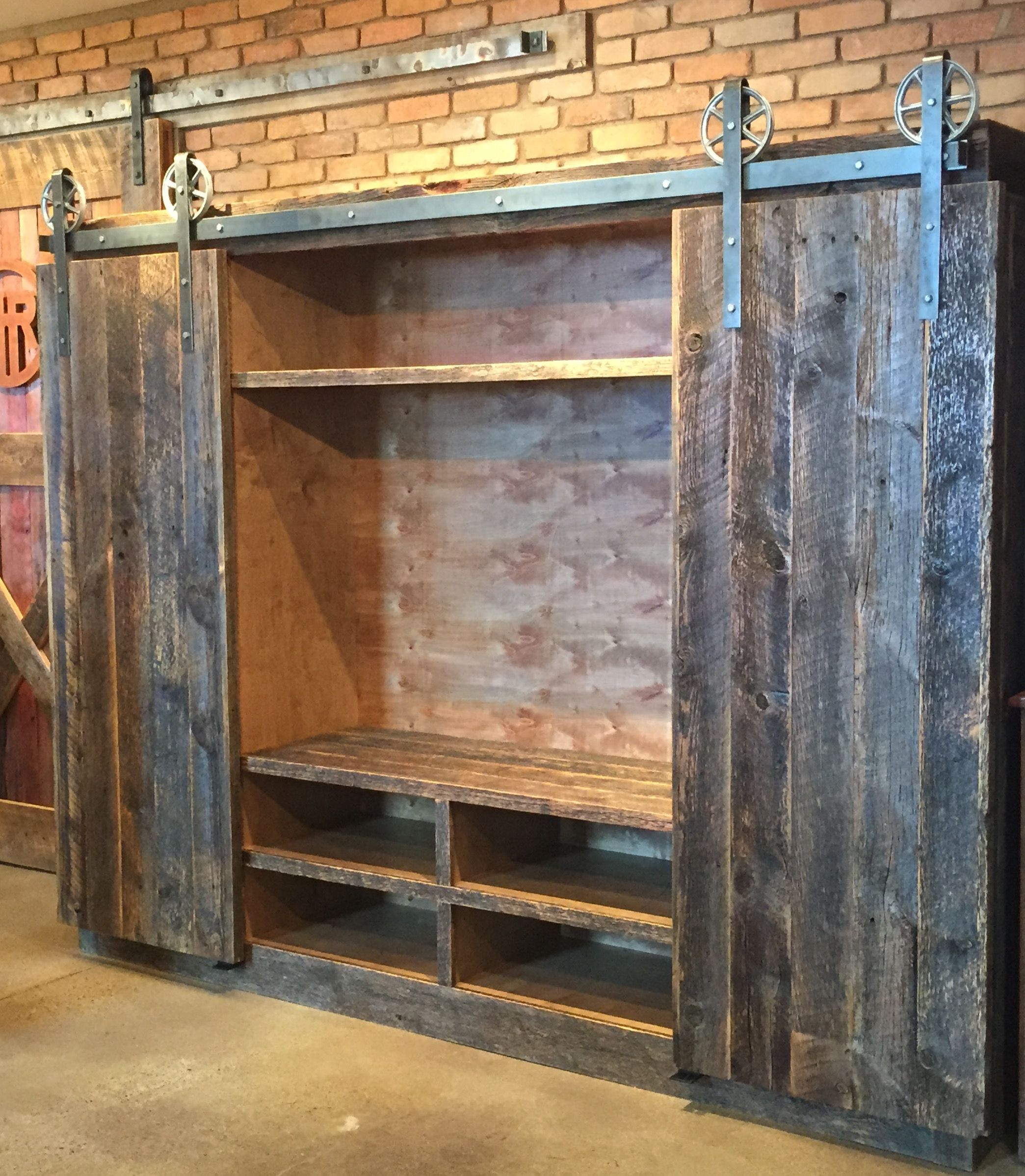 Custom entertainment center handcrafted from reclaimed