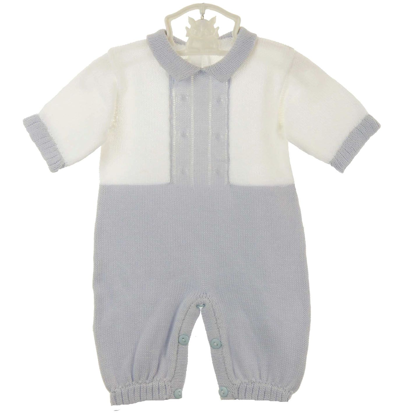 2195719cd NEW Baby s Trousseau Blue and White Cotton Knit Romper and Hat Set ...