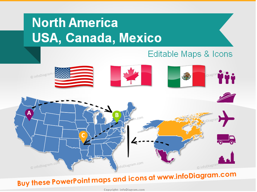 North America Maps USA Canada Mexico Population Gdp - Usa and mexico map