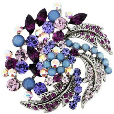 Amazon com: Amethyst Purple Flower Wedding Pin Swarovski