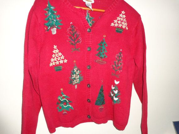 vintage ugly Christmas sweater party Christmas Trees knit cardigan ...