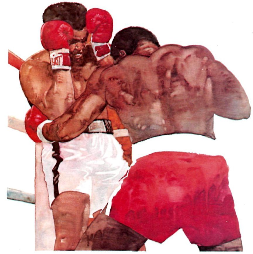 Bart Forbes illustration, Holmes vs. Ali for SI, Sept. 1980.
