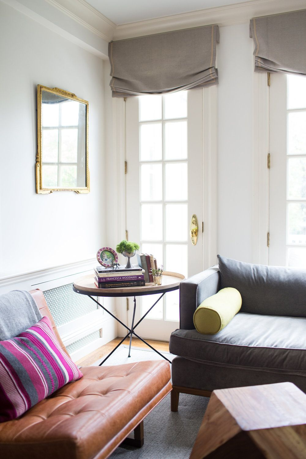 Living room design with french doors and mismatched sofas ...