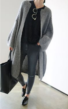 Images of Long Grey Cardigan - Reikian