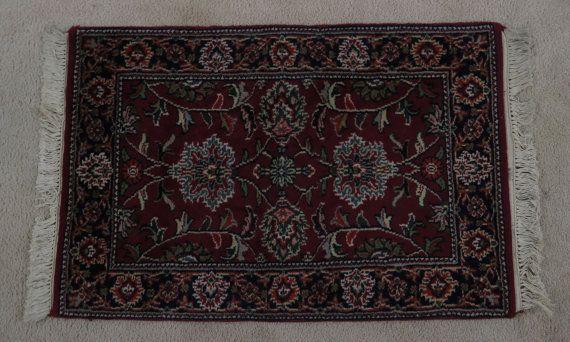 Vintage 1990 Oriental Rug 100 Wool Jaipur Indian Hand Etsy Oriental Rug Oriental Hand Dyeing