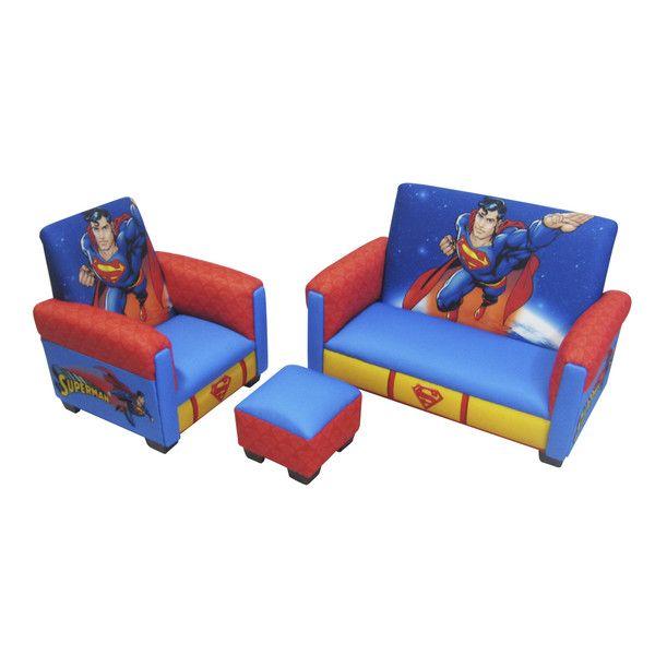 Enjoyable Superman Toddler 3 Piece Sofa Chair Ottoman Furniture Set Evergreenethics Interior Chair Design Evergreenethicsorg