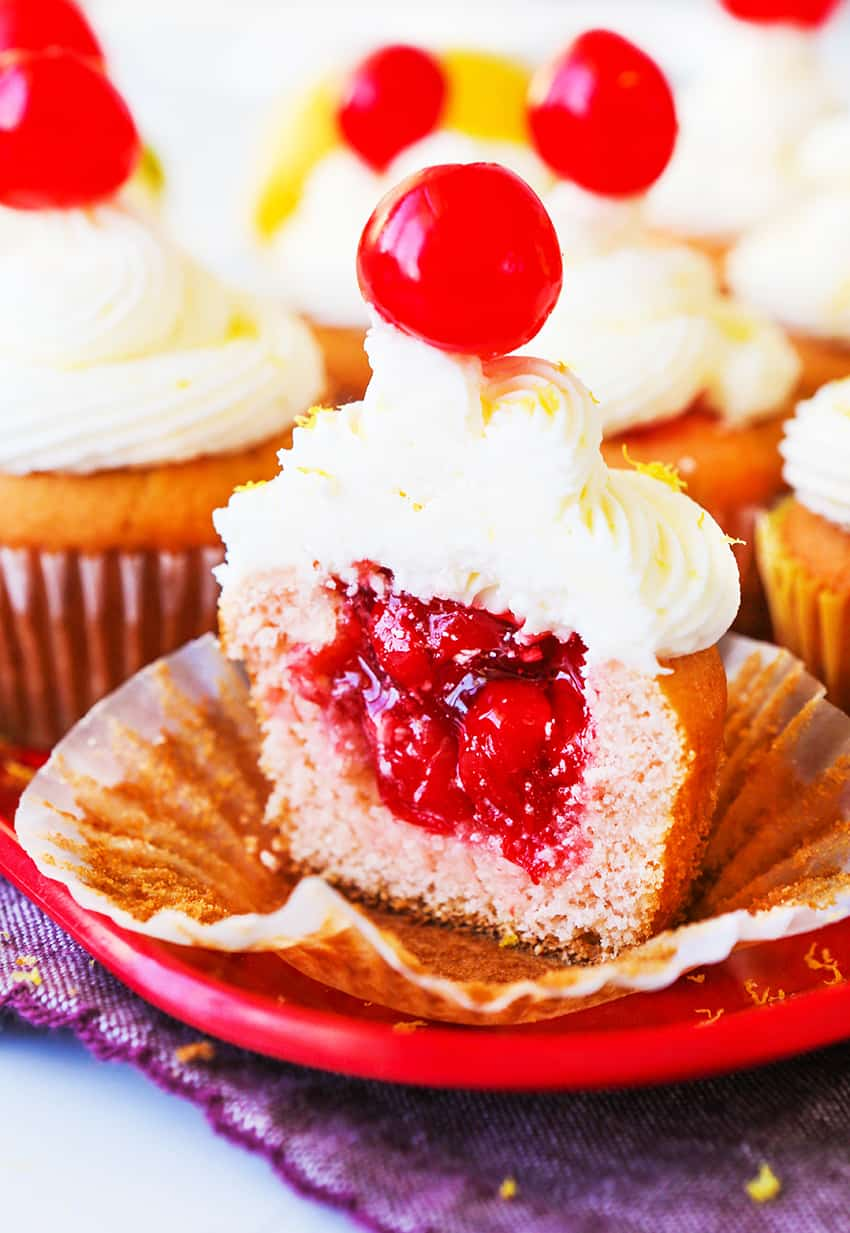 Cherry Cupcakes with a Surprise Center