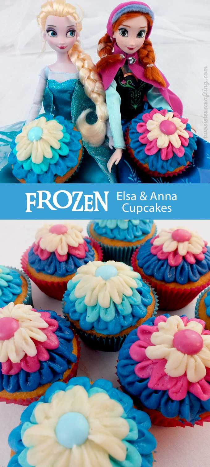 These Frozen Elsa Anna Cupcakes will be a hit at your Frozen