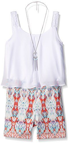 Amy Byer Big Girls Solid Popover with Print Short Romper, Pat K/Multi, Small