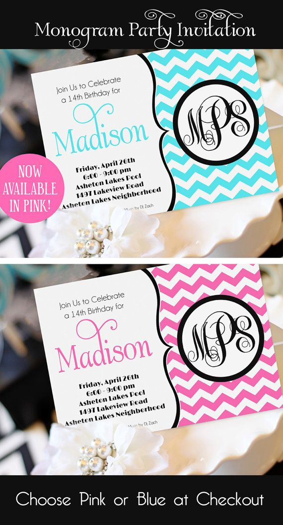 Monogram Party Invitation Printable Teen By AmandasPartiesToGo 1400