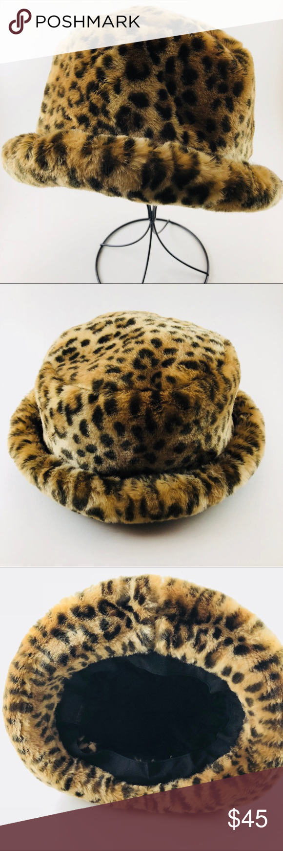 ⭐️🆕[DKNY] Leopard Faux Fur Hat 🎩 ️New most likely never
