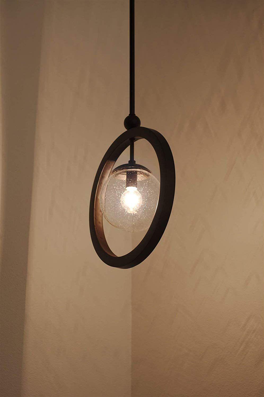 Modern Ring Pendant Light Seeded Glass Orb Adjustable Height Unique Pendant Lights Modern Pendant Light Seeded Glass Light