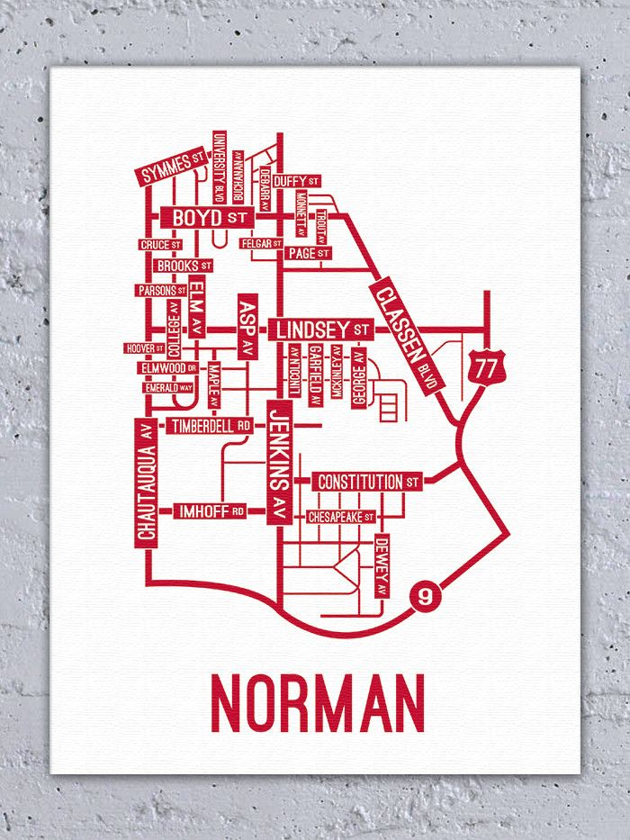 Norman Oklahoma Street Map Canvas For The Home Pinterest