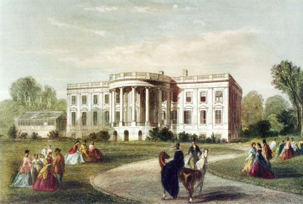 Illustration of the south face, circa 1860, with the first greenhouse (1857-1867). | White house usa, White house washington dc, White house