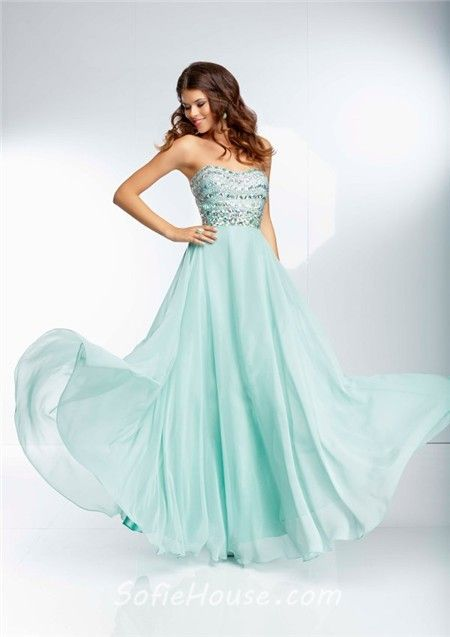 Flowing Strapless Long Mint Green Chiffon Beaded Crystal Prom ...