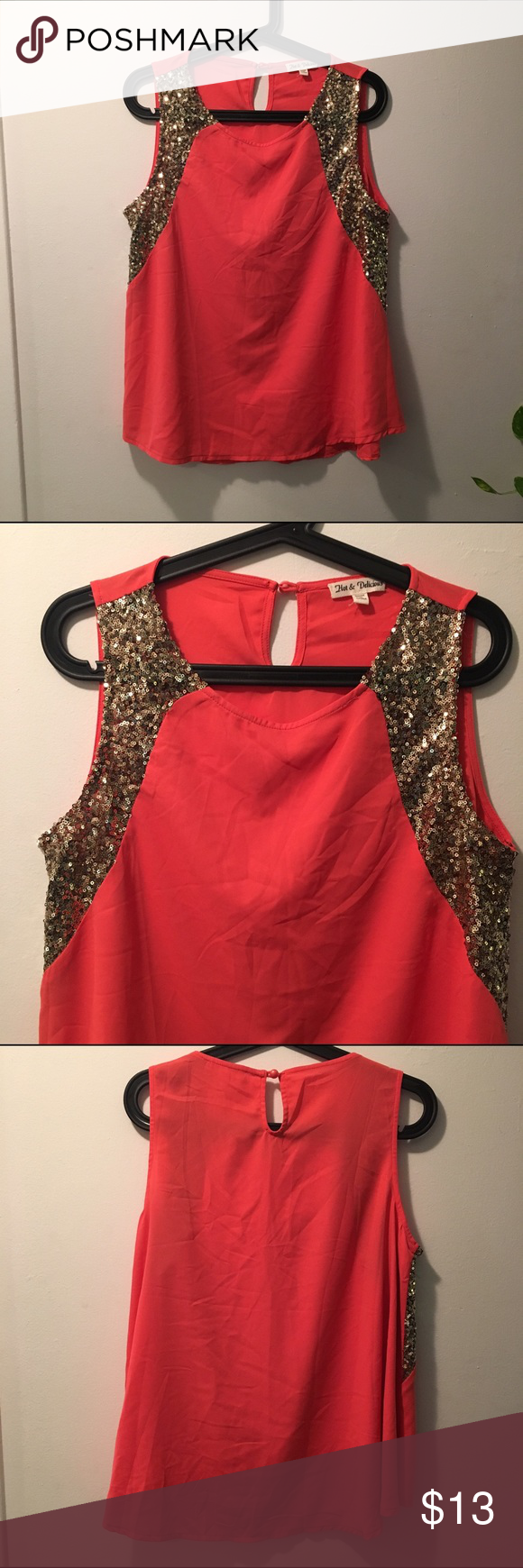 Coral top with gold sequins Coral top with sequins. Never worn. Tops Blouses