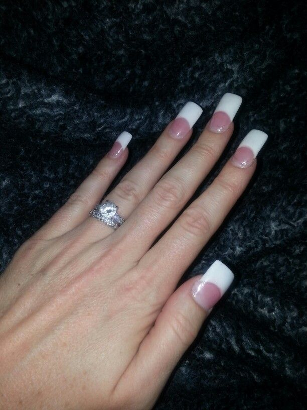 Long Square Pink & White Acrylic Nails 1 week in... | nails ...