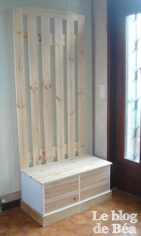 Diy Vestiaire D Entree En Bois De Palettes Et Medium Le Blog De Bea Palette Bois Deco Maison Vestiaire Entree
