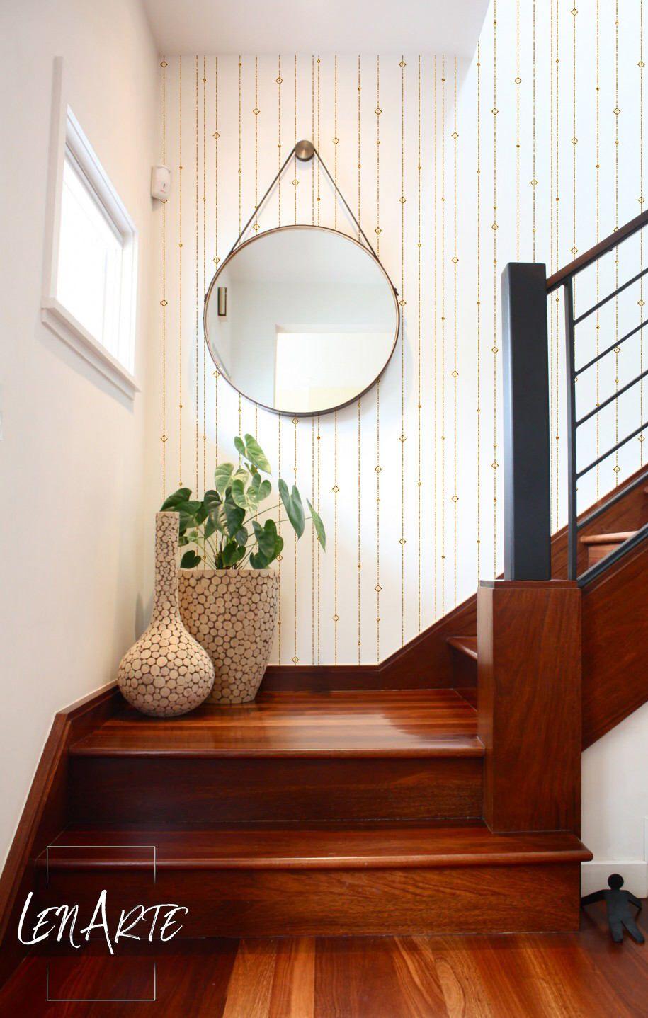 Gold Striped wallpaper Linear Geometric wallpaper Easy