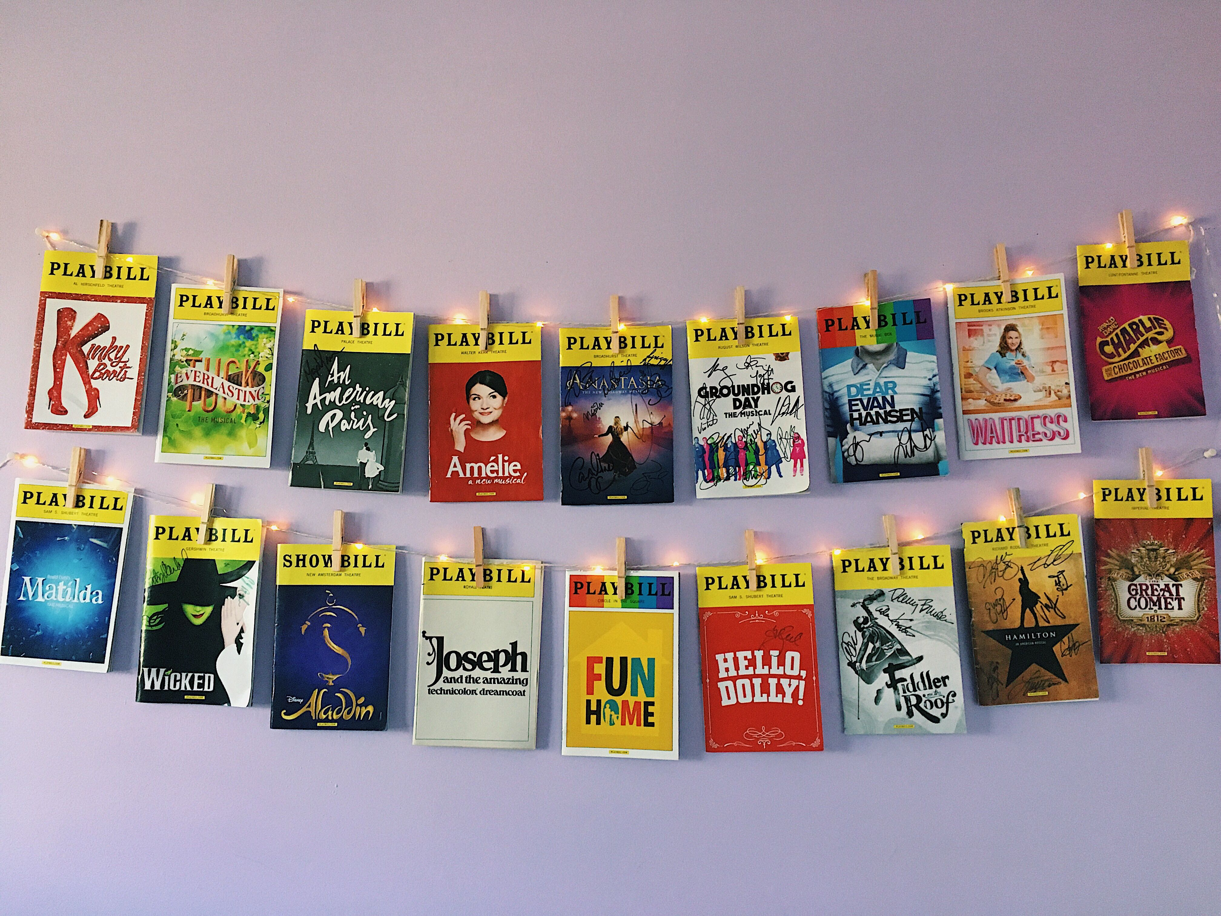 Pretty Aesthetic Broadway Playbill Wall Fairy Lights
