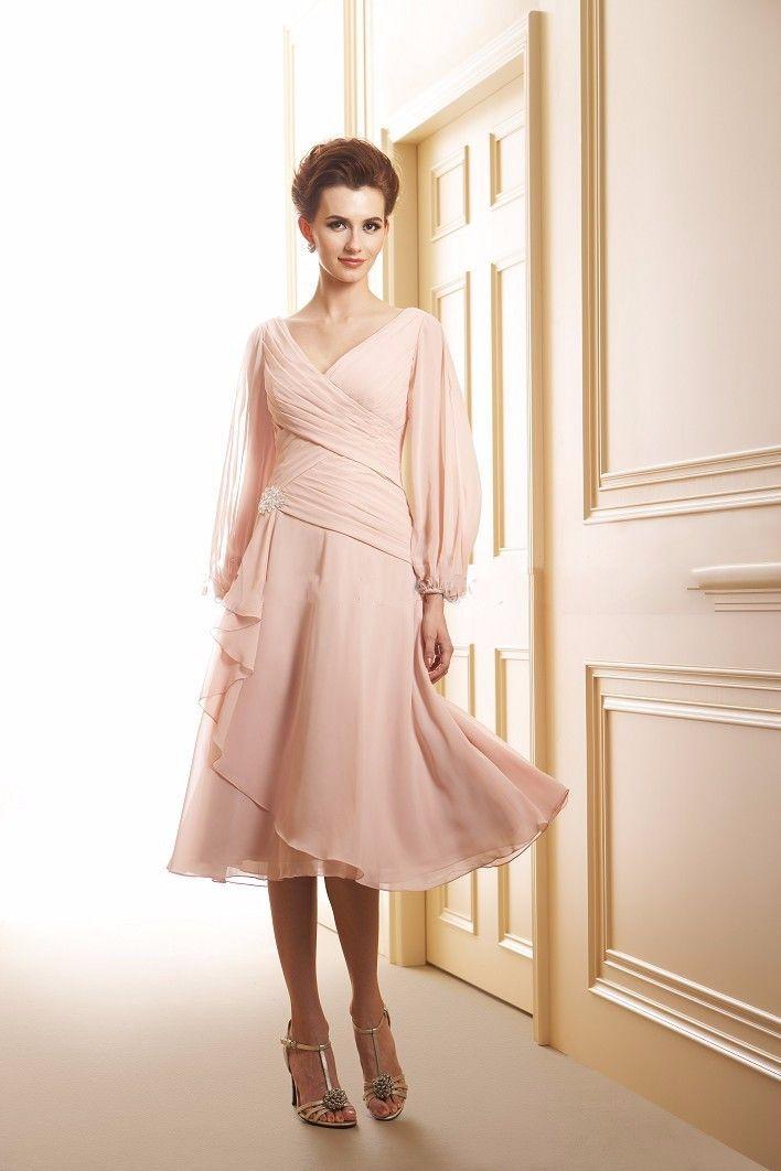 Short Mother Of The Bride Dresses Chiffon Groom V Neck Long Sleeve Evening Dress