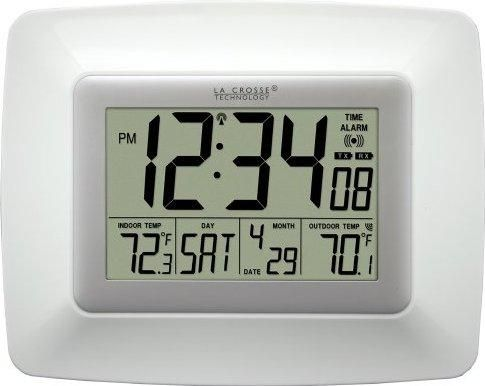 La Crosse Technology Atomic Digital Clock With Indoor And Outdoor Temperature White