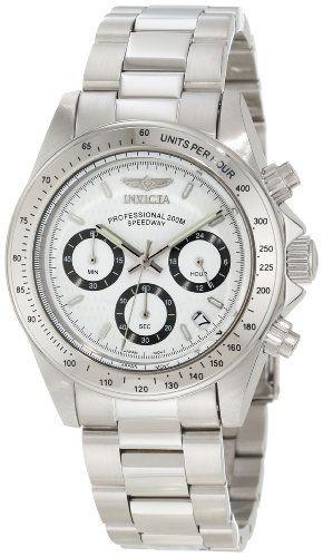 Invicta Speedway Unisex Quartz Watch With White Dial Chronograph Silver Stainless Steel Bracelet Amazon Deals Discount Erkek Kol Saatleri Bayan Saatleri