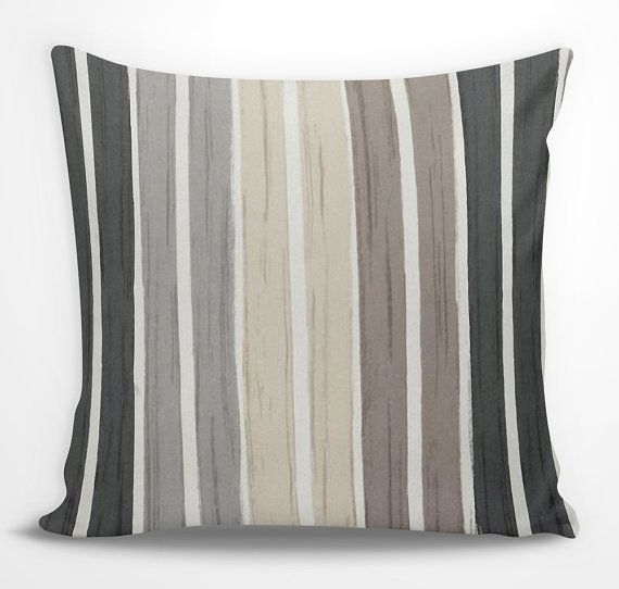 Gentil Brown Striped Decorative Pillow   Black, Gray, Tan, Beige Striped Sofa  Cushion, Euro Sham Monochromatic Modern