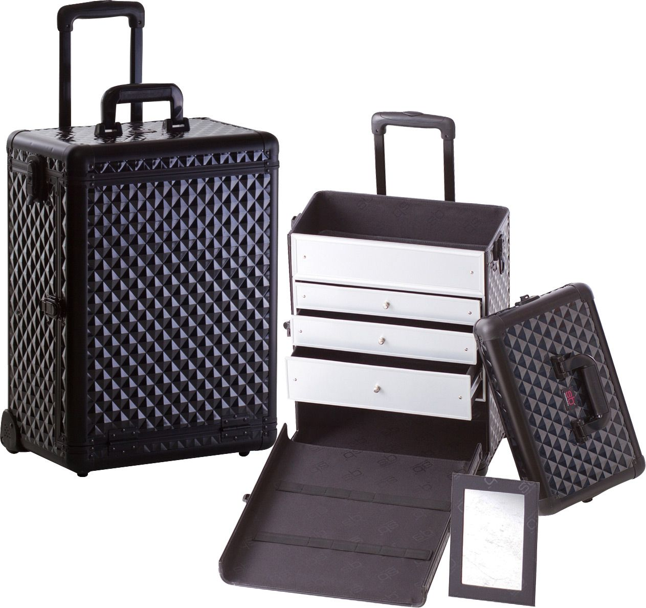 Professional Rolling Makeup Case w/ 3 Drawers All Black