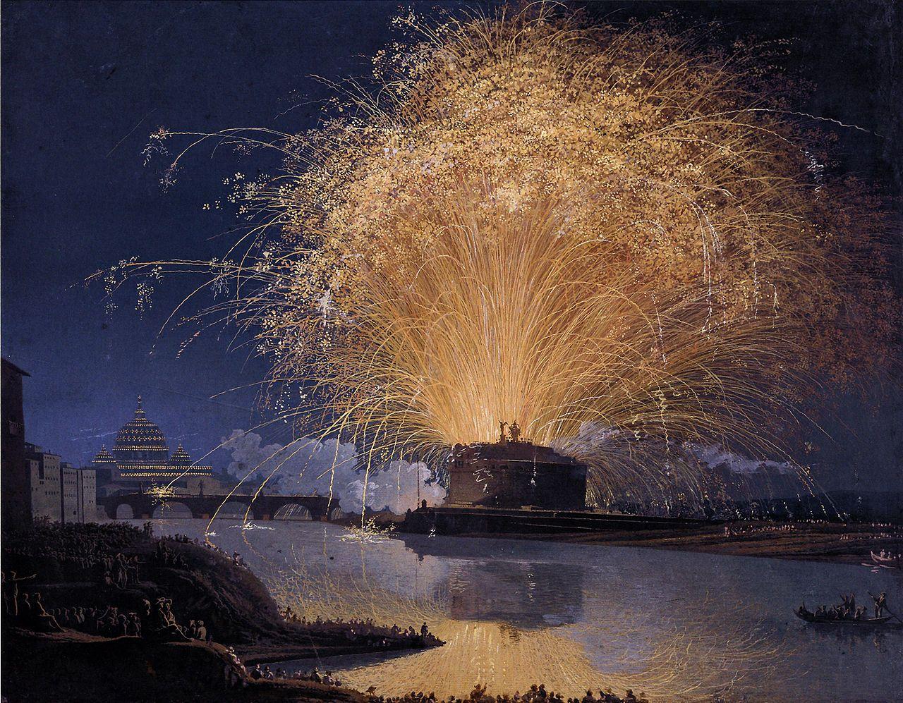 Hackert Feuerwerk Auf Der Engelsburg In Rom 1775 Jacob Philipp Hackert Wikipedia Castel Sant Angelo Castel Fireworks
