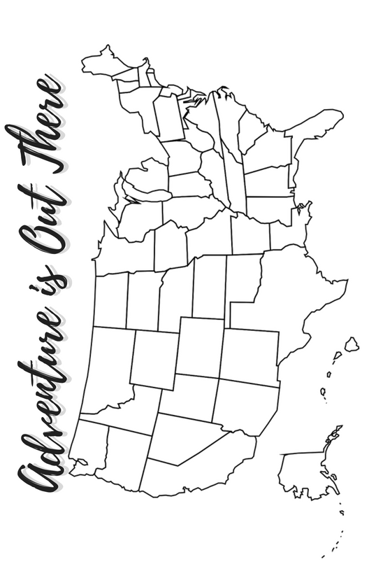 Printable US Map to track your travels. Color in each