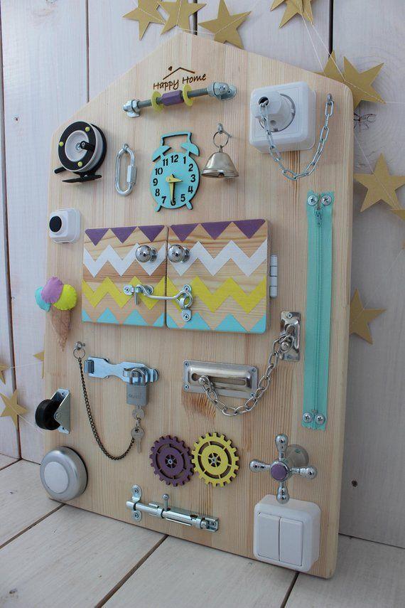 Montessori Activity Board Toddler Latch Board Busy Board Baby Toddler Preschool Sensory Activities Baby 1 st Birthday