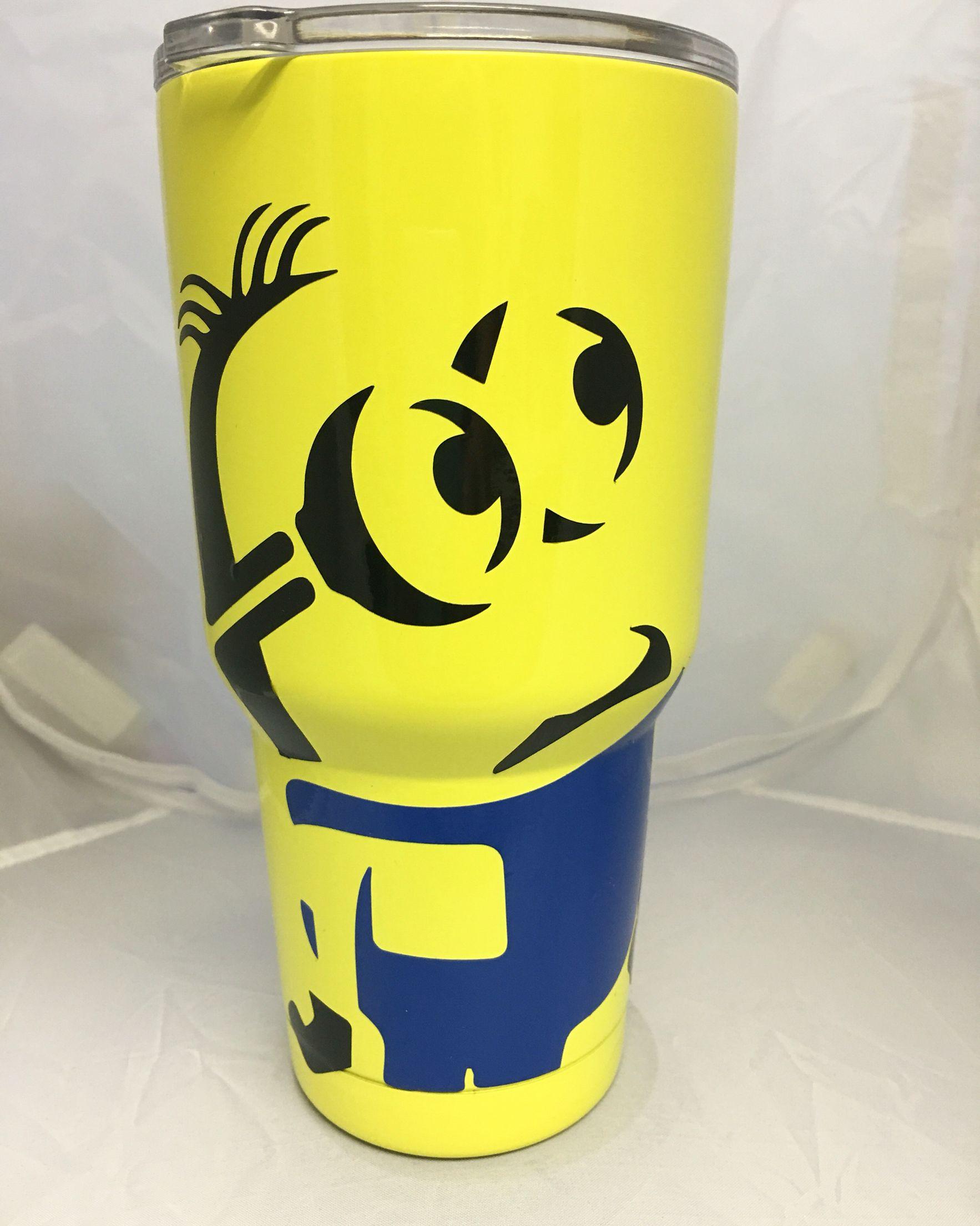 30oz Ozark Cup Powder Coated Yellow Vinyl Minion