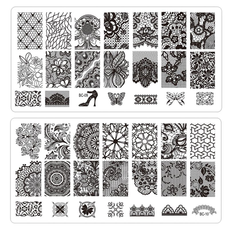 Wholesale 1pcs New Black Flower Lace Nail Stamping Plates Stainless ...
