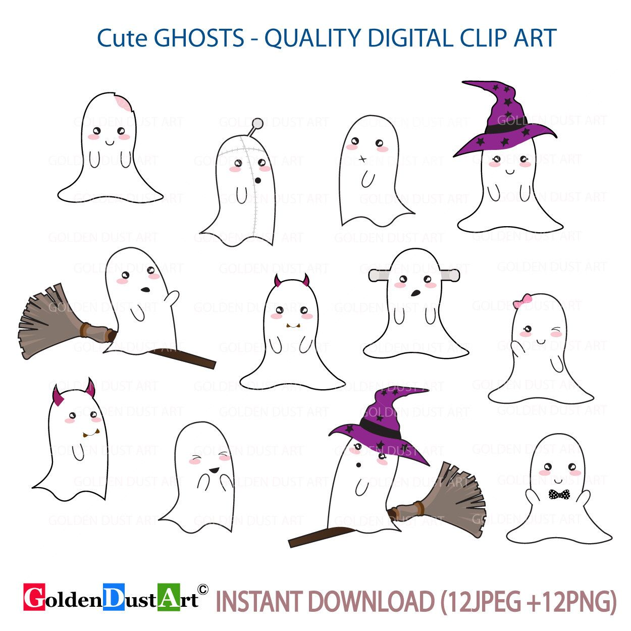 Cartoon Ghost Characters Happy Surprised Scary Smiling